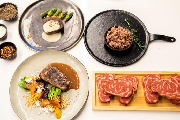 Dishes with 3D printed plant-based meat from Redefine Meat