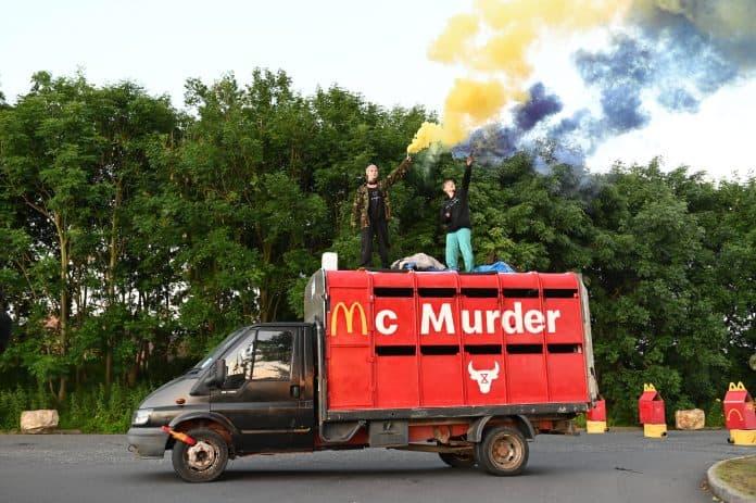Truck with McMurder blocks burger factory, credit: Animal Rebellion
