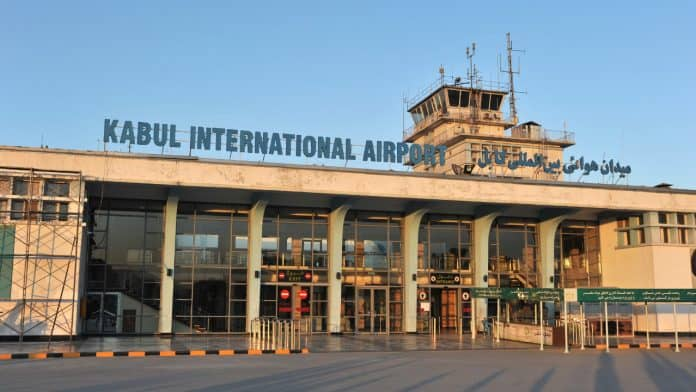 Kabul International Airport written on an empty
