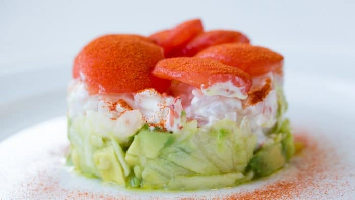 Avocado, cucumber and shrimp on top of each other